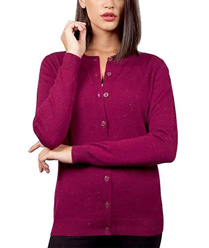 - Nicole Miller Ladies' Metallic Yarn Cardigan Sweater (Berry, X-Large)