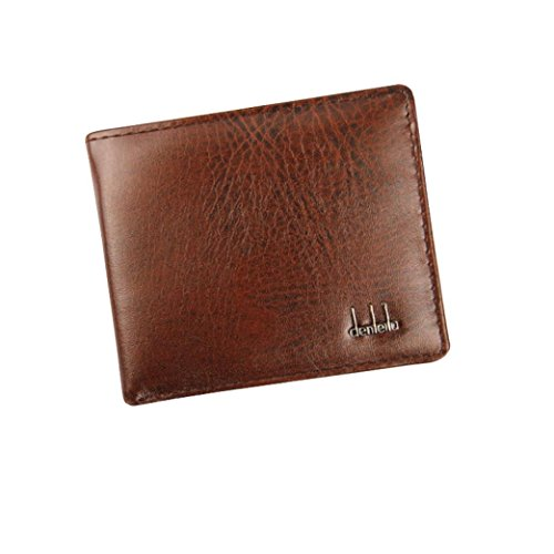 Clearance! Mens PU Leather Wallet, Tloowy Vintage Slim Bifold Business Wallet Card Holder Case for Men (Brown)