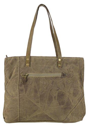 Bolso de compra señora Sunsa Vintage Bolso de hombro bolso de mano hecho de tela / tela con cuero 51691