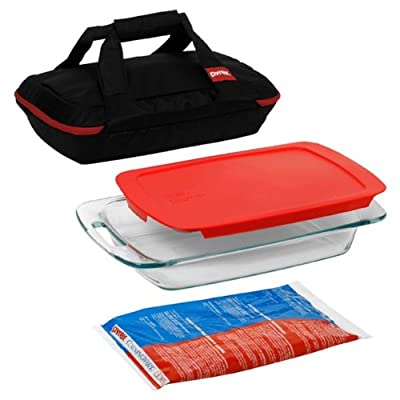 Pyrex Portable Set, includes 1-ea 3-qt Easy Grab Oblong, RedCover, Large Unipack