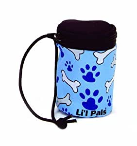 Li'l Pals Waste Bag Dispenser, Blue with White and Grey Bones and Blue Paws, One Size