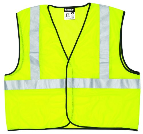 MCR Safety VCL2SLL Class 2 Polyester Solid Economy Safety Vest with 3M Scotchlite 2-Inch Silver Reflective Stripe, Fluorescent Lime, Large Fluorescent Lime Safety Vest