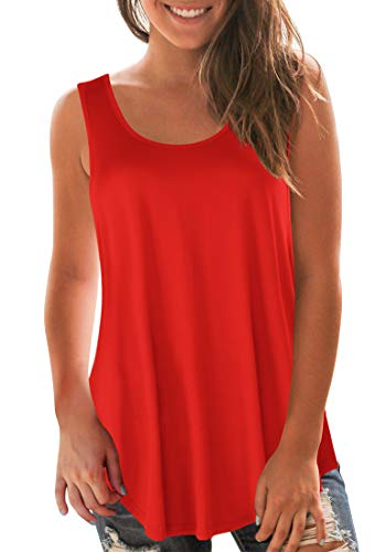 Sousuoty A Line Tank Tops for Women Round Neck Sleeveless Shirts Trendy Red XL