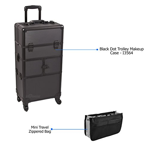 Sunrise Black Dot Trolley Makeup Case - I3564 with PC05 Mini Travel Zippered Bag by SunRise