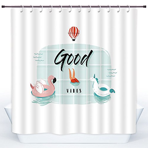 SCOCICI Funky Shower Curtain,Good Vibes,Pink Flamingo and Unicorn Buoy Ring in Swimming Pool Summertime Fun Decorative,Pale Green Coral Black,Polyester Shower Curtains Bathroom Decor Set with Hooks