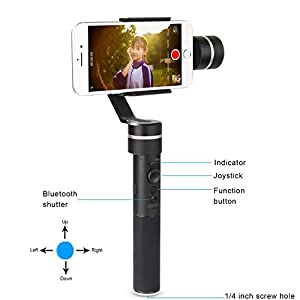 Feiyu SPG w/Plate kit, 3 Axis Gimbal Upgraded Splash-Proof Design Handheld Stabilizer Face Tracking Panorama Time-Lapse Vertical& Horizontal Shooting for Smartphone iPhone Samsung & GoPro Hero 6/5/4
