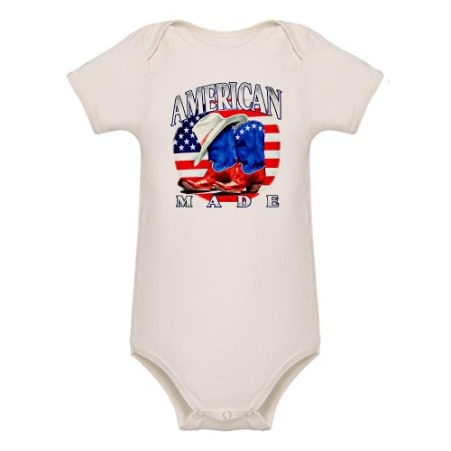 Artsmith, Inc. Organic Baby Bodysuit American Made Country Cowboy Boots and Hat - 3 to 6 Months
