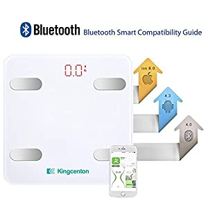 Kingcenton Bluetooth Body Fat Scale, FDA Approved Smart Wireless Digital Bathroom Scale with IOS and Android App Measures Body Weight, Fat, Water, BMI, BMR, Muscle Mass, Bone Mass, Visceral Fat, White