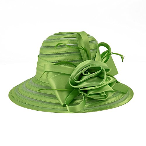 Wedding Green Church Bowler Women's Party Hat Wide Derby Brim Dress VOBOOM Cap CqU0nwOPxW