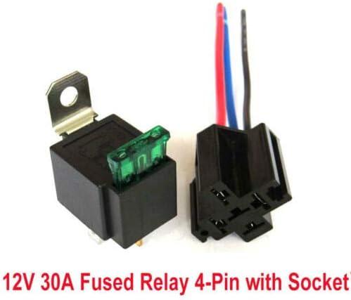 Fusible de cuchilla ATO//ATC de 30 A Juego de arn/és para interruptor de rel/é de fusible de 12 V BE-TOOL rel/és el/éctricos automotrices SPST de 4 pines con cables de 14 AWG de alta resistencia