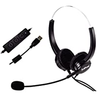 TRIPROC Hands-free USB Corded Binaural Call Center Voip Communication Headset with Noise Cancelling Microphone and Volume Adjuster, for Computer, Skype, Webinar, Phone