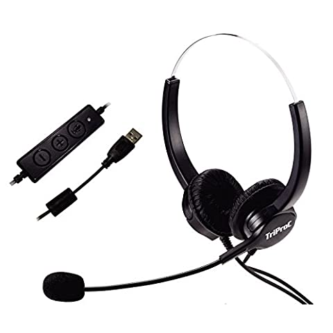 TRIPROC Hands-free USB Corded Binaural Call Center Voip Communication Headset with Noise Cancelling Microphone and Volume Adjuster, for Computer, Skype, Webinar, (Usb Headset Noise Cancelling)
