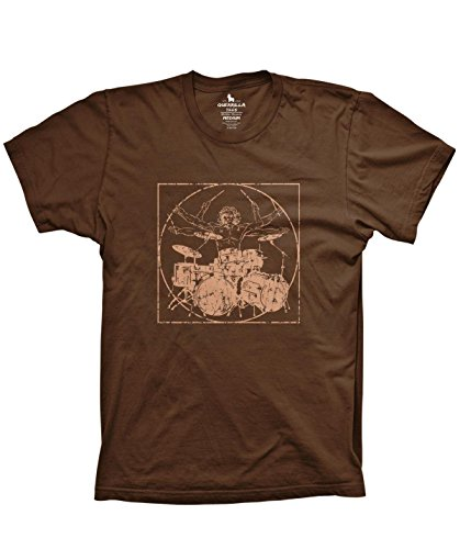 (Davinci Drummer Funny Music Shirt Drumming Percussion Tshirts, Brown, X-Large)
