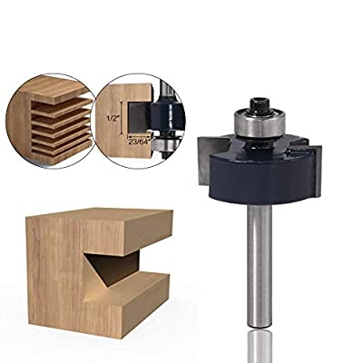 CHoiKWong 1/4 Inch Shank Slot Cutter Router Bit 1/2-Inch Height X 23/64-Inch Depth T Slotting Rabbet Bits Woodworking Tools