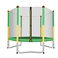 Fashionsport OUTFITTERS Trampoline with Safety Enclosure -Indoor or Outdoor Trampoline for Kids-Yellow/Green-5 feet