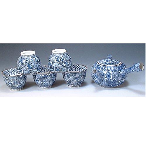 Kiyomizu-kyo yaki ware. Set of Japanese yunomi teacup and kyusu teapot kikuborishonzui with wooden box. Porcelain. kymz-JIK052