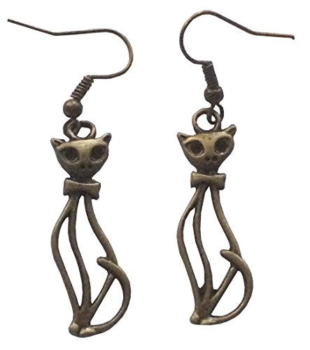 Sitting Pretty Cat Antique Bronzetone Color Dangle Earrings 1.25