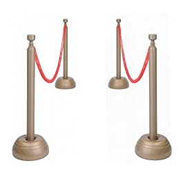 Beistle Red Rope Stanchion Set Awards Night Decorations, VIP Party, Red/Bronze
