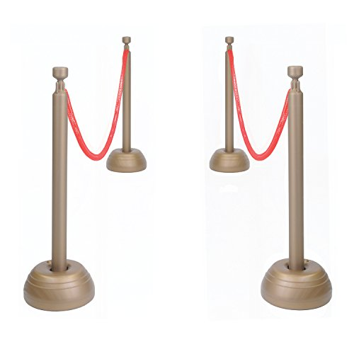 Red Rope Stanchion Set Includes: 3�Flexible Ropes, 9'-30' 1/Pkg
