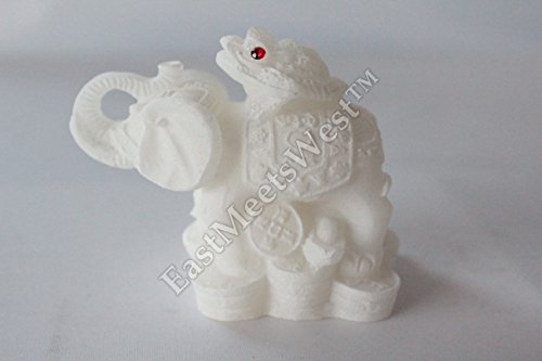 Oriental Chinese Faux White Jade Feng Shui Wealth Lucky M...