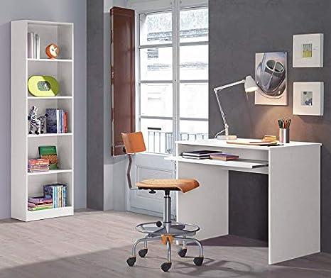 SUENOSZZZ - Conjunto Mesa de Escritorio para Ordenador/Estudio y estanteria, Color Blanco. Escritorios Juveniles para Dormitorio Infantil. Muebles ...