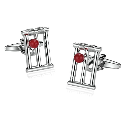 ANAZOZ Men's Jewelry, Stainless Steel Characteristic Hollow Rectangle Red Bead Silver Red Cuff Links for Mens
