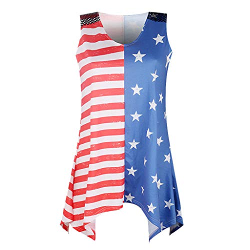 TWinmar -Women Stripe America Flag Printed Tank Tops Sexy Summer Patchwork Blouse Fashion Sleeveless Festive Camisole (Multicolor,M)