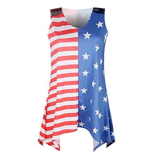 Yezijin_Women's Wear Womens Sleeveless Tops,YEZIJIN Women Stripe America Flag Printed Sleeveless Tank Up Blouse