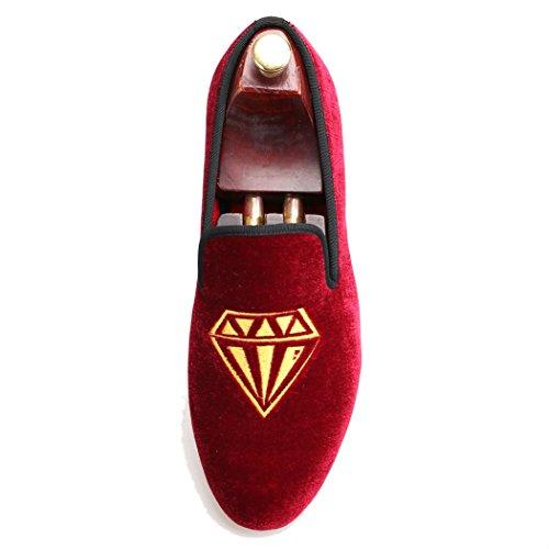 FERUCCI Handmade Burgundy Men Velvet Slippers Loafers With Gold Diamond