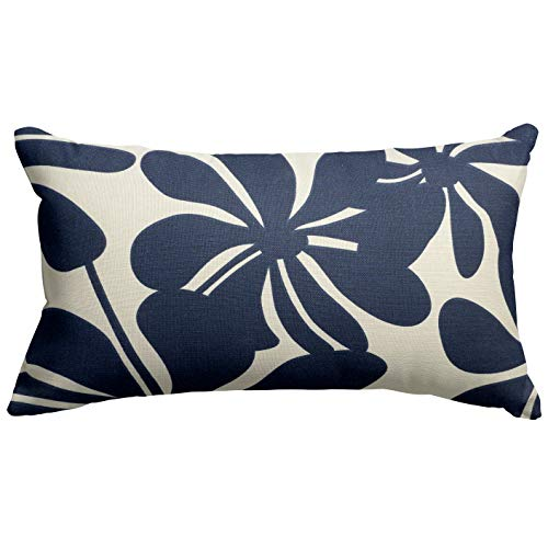 "Majestic Home Goods Navy Blue Plantation Indoor / Outdoor Small Throw Pillow 20"" L x 5"" W x 12"" H"