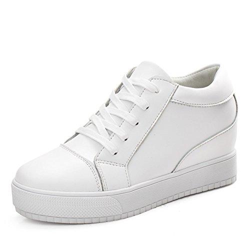 Suela Zapatos Los zapatos Mujeres la Coreana Altos las De Primavera Cuero Mujer A Planos Gruesa Blanco Versión PHdvIq