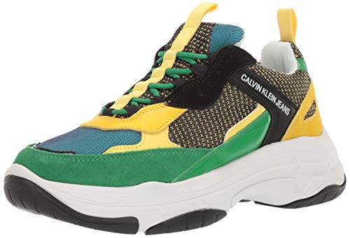 CK Jeans Men's MARVIN Shoe, Black/Green/Lemon Nylon Suede, 13  M M US (Best Mens Sneakers With Jeans)