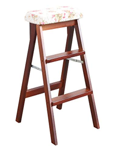 - XPHZHJ- Barstools Stool Solid Wood Folding Bench Bar Stool Wooden Ladder Home Folding Chair Multi-Function Fabric High Stool +
