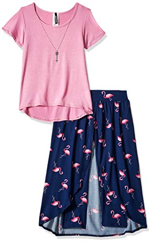 Instagirl Girls' Big Knit Top and Romper Skirt Set, Pink/Navy Flamingo, 14/16 (Size 16 Girl Clothes)