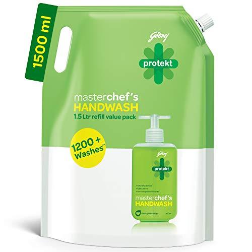 Godrej Protekt Germ Fighter Handwash Refill, Lime – 1.5 L, 99.9% Germ Protection, With Glycerin
