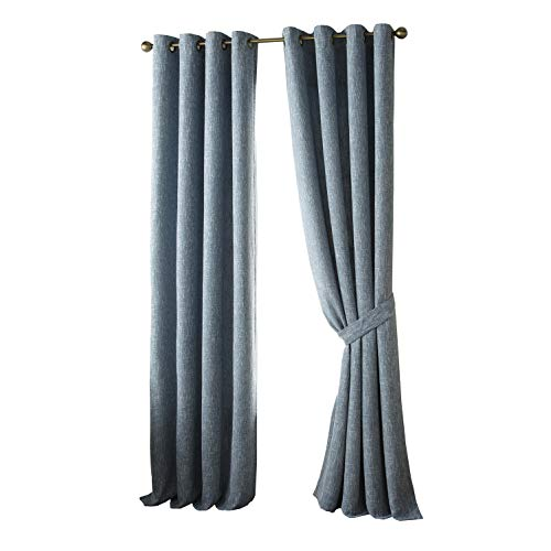 - Chezmoi Collection Melrose Vintage Heavy Weight Faux Linen Grommet Window Curtain/Drapes (Set of 2 Panels, 52