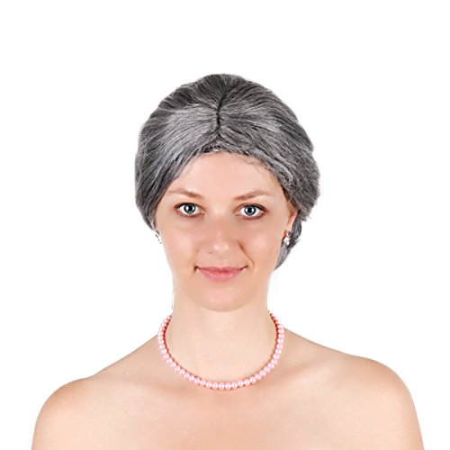 Christmas Party Grey Old Lady Wig Bang Deluxe Old Women Mrs Santa Wig (Grey) (Wig Deluxe Mrs Santa)
