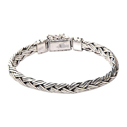 - NOVICA .925 Sterling Silver Men's Braided Chain Bracelet 'Wisdom'