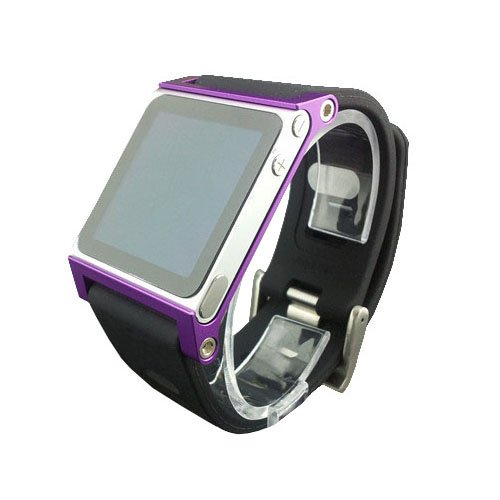 (Multi-Touch Aluminum Watch Band Cover Case for Apple iPod Nano 6th Generation 8GB 16GB;Hand Strap for iPod Nano 6G(Purple))
