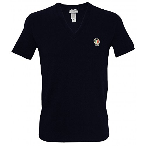 Dolce & Gabbana Sport Crest Deep V-Neck Men's T-Shirt, Navy XX-Large Black