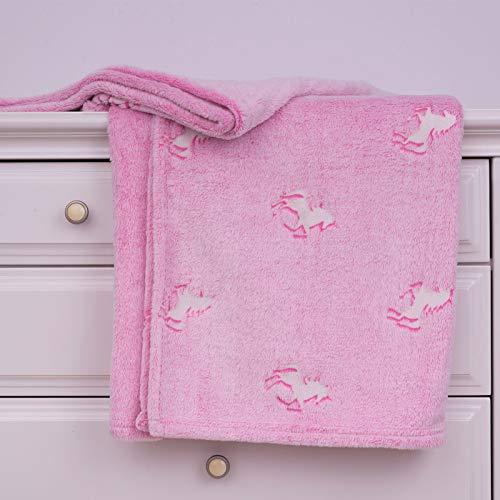 SOCHOW Glow in The Dark Throw Blanket 50 × 60 Inches, Unicorn Pattern Flannel Fleece Blanket, All Seasons Pink Blanket for Kids