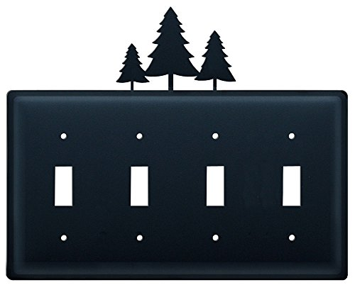 8.25 Inch Pine Trees Quadruple Switch Cover