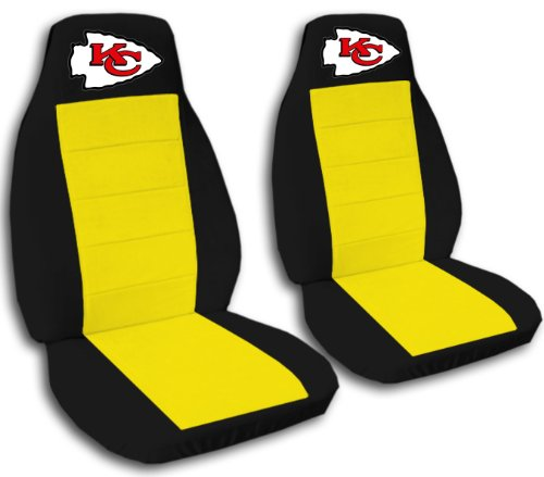 2 Black and Yellow Kansas City seat covers for a 2007 to 2012 Chevrolet Silverado. Side airbag friendly. by Designcovers