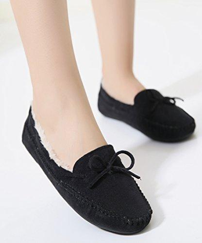 D2c Beauté Femmes Hiver Daim Slip Sur Mocassin Pantoufles Mocassins Chaussures Noir