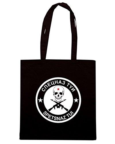 T-Shirtshock - Bolsa para la compra T0916 spetsnaz tui militari Negro