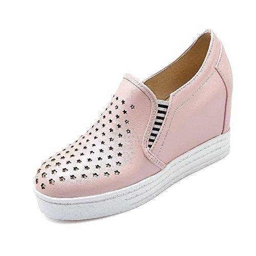 AllhqFashion Damen Rund Zehe Hoher Absatz Weiches Material Rein Ziehen auf Pumps Schuhe Pink