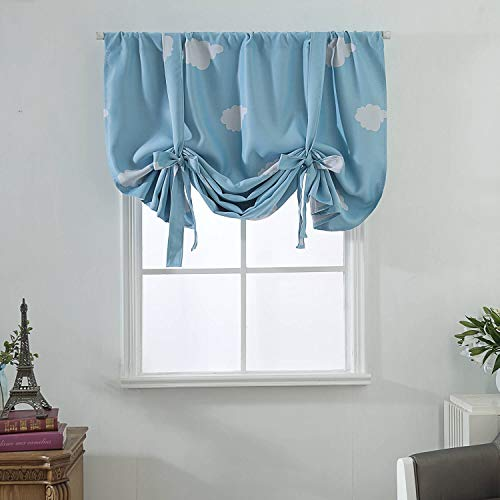 Blue Tie Up Curtains for Small Window, Print Blackout Balloon Roman Curtains for Kids Room , Thermal Insulated Blue White Room Darkening Curtains Window Treatments Rod Rocket, 63 Inch Length,1 Panel (Roman Shades Print)
