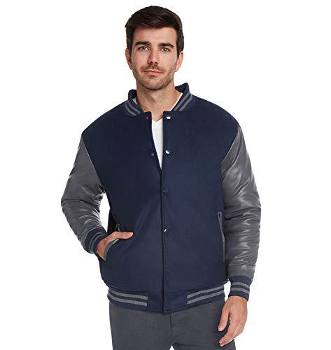 Jacket Varsity Pleather - 9 Crowns Essentials Men's Snap-Close Letterman Varsity Jacket-Navy/Charcoal-Large