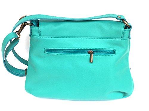 bandoulière Made Mada cuir à Superflybags avec Turquoise Italy souple véritable rabat en Modèle Sac Media 7vExxBg
