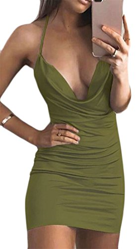 Cruiize Femmes Amincissent Licol Fines Bretelles Dos Nu Mini Vert Armée Robe Moulante